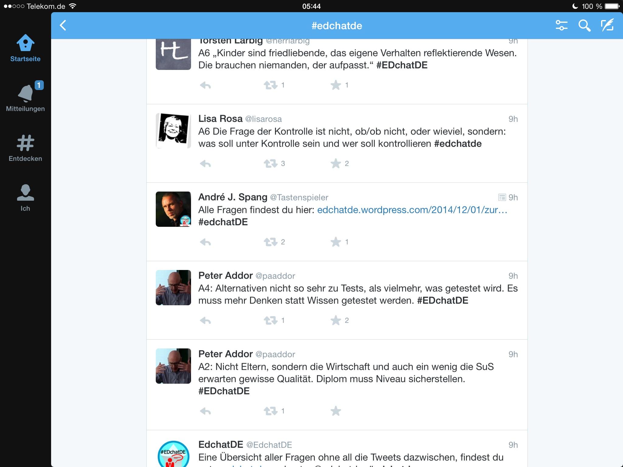 Screenshot Twitterchat #EDchatDE